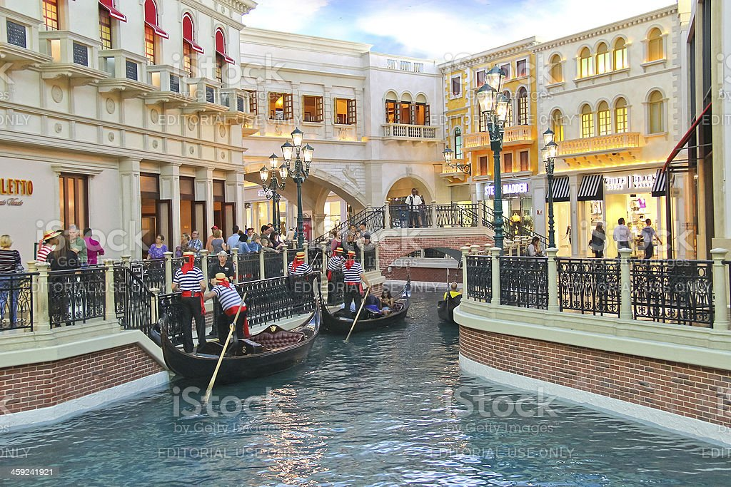 Gondola rides in Venetian  Hotel.  Las Vegas, Nevada royalty-free stock photo