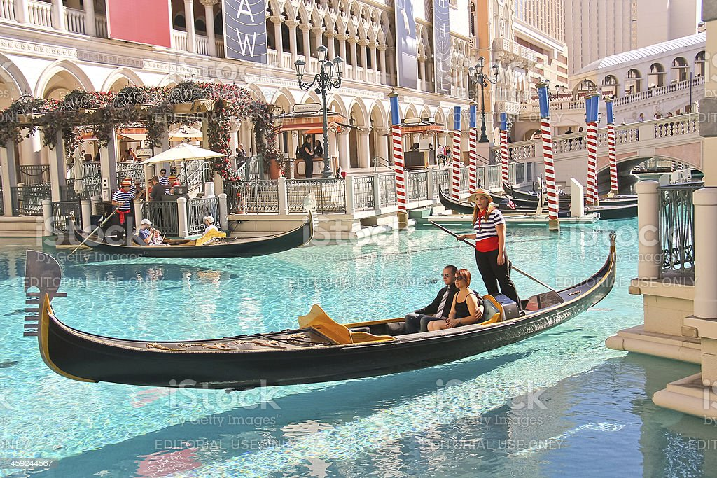 Gondola rides in Venetian Hotel . Las Vegas stock photo