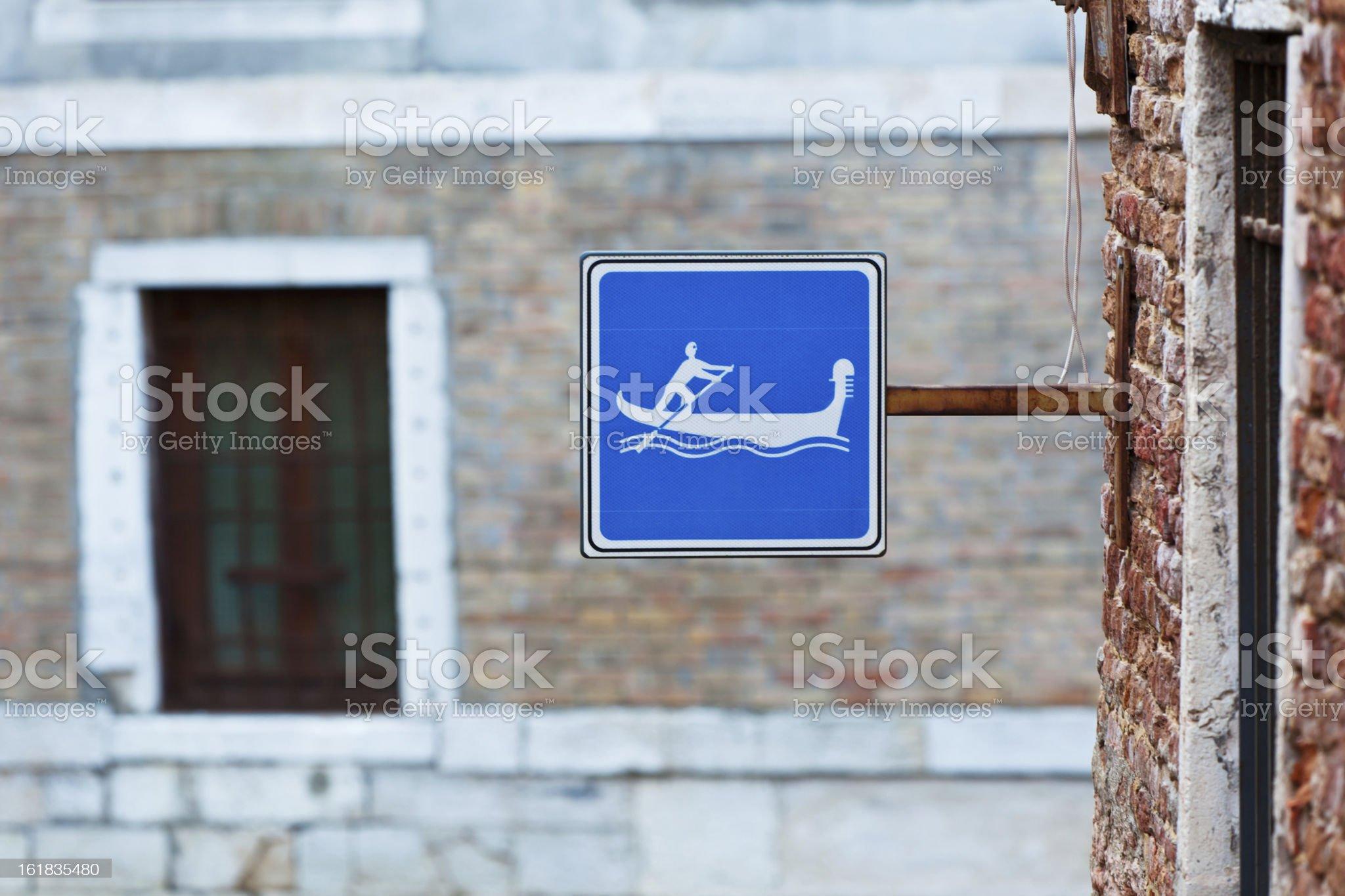Gondola Sign in Venice, Italy royalty-free stock photo