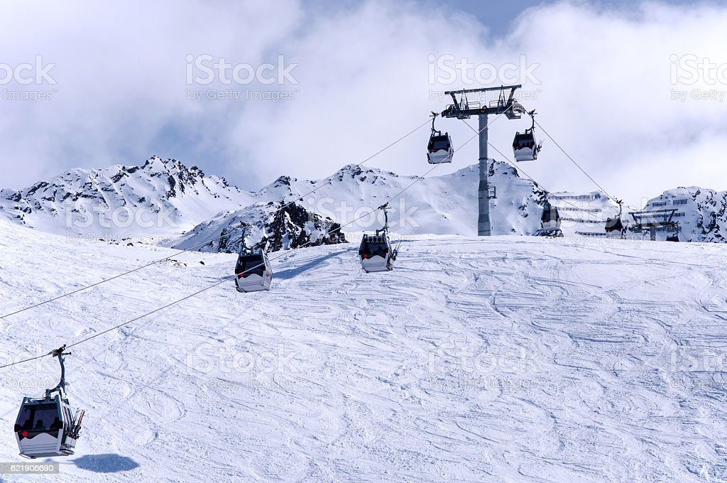 Gondola ski lift in Oberrgurgl-Hochgurgl in Otztal Alps, Austria stock photo
