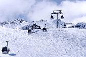 Gondola ski lift in Oberrgurgl-Hochgurgl in Otztal Alps, Austria