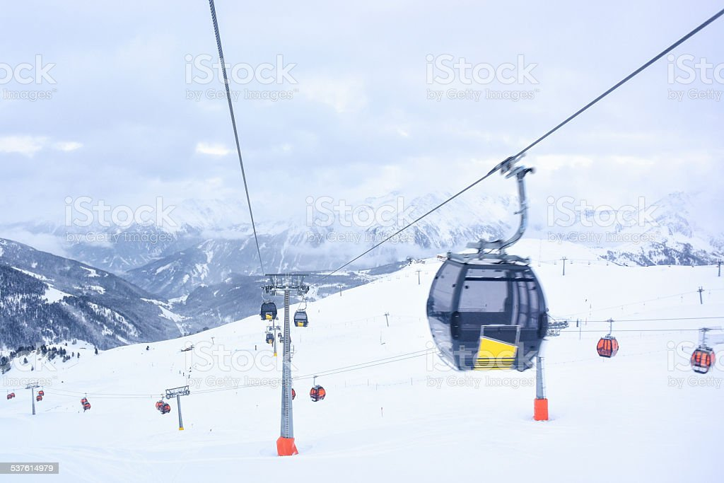 Gondola ski lift view stock photo