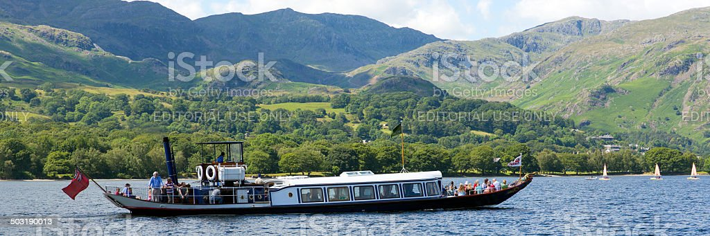 Gondola steam boat on Coniston Water Lake District England uk stock photo