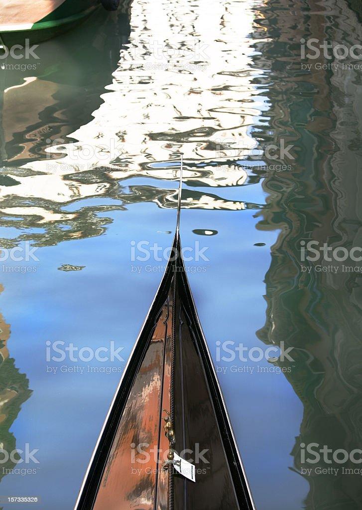 Gondola Tip in Canal Venice Italy royalty-free stock photo