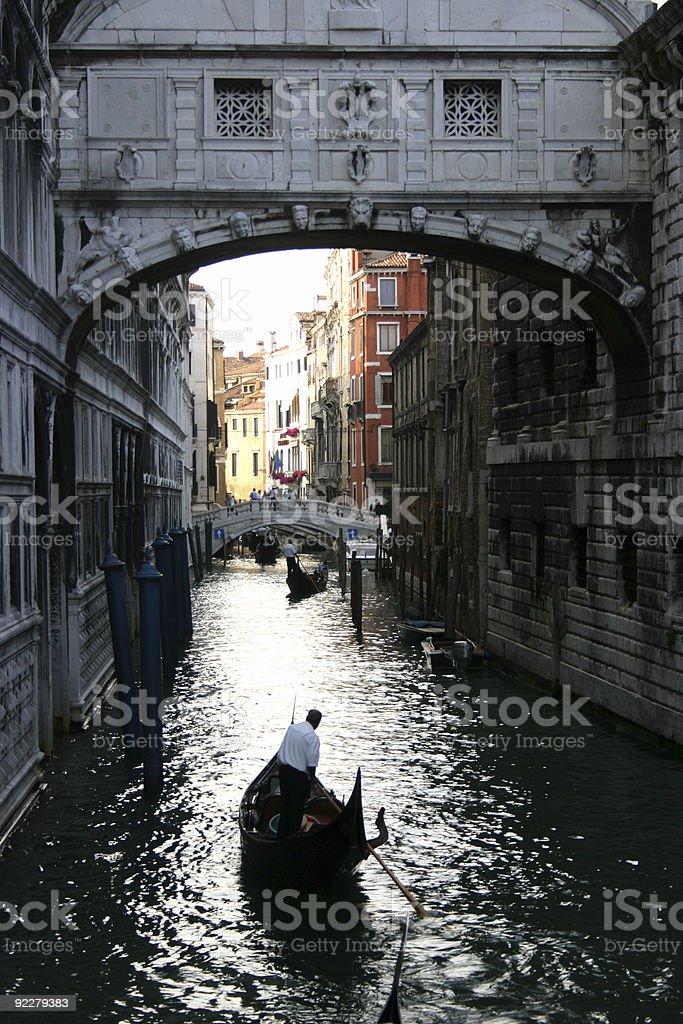 gondola under the Bridge of Sighs stock photo