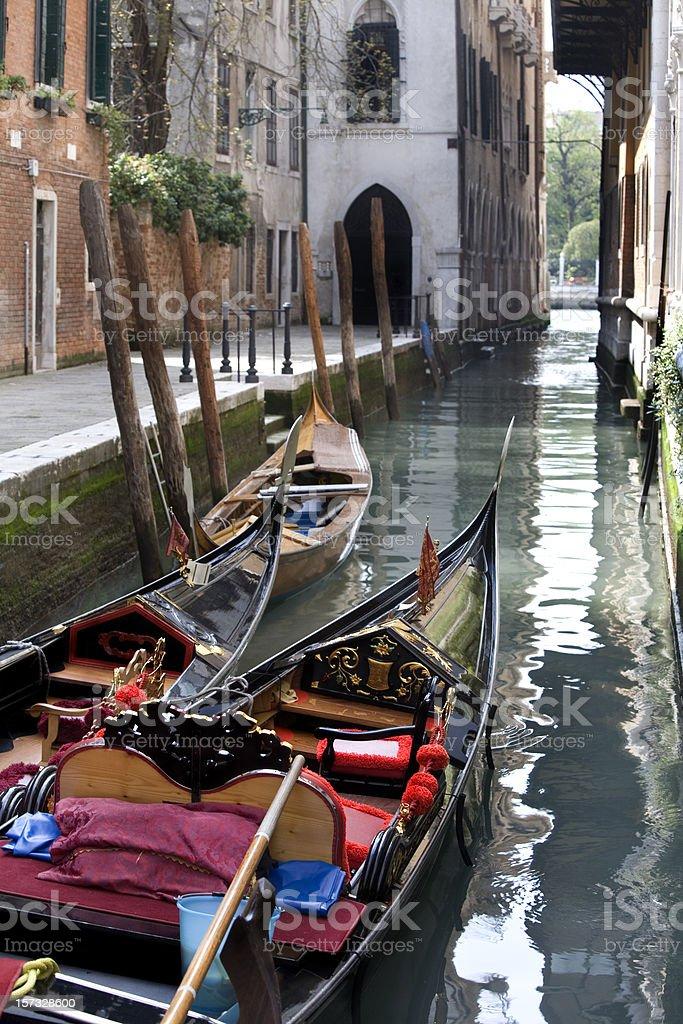 Gondolas and Canal in Venice Italy royalty-free stock photo