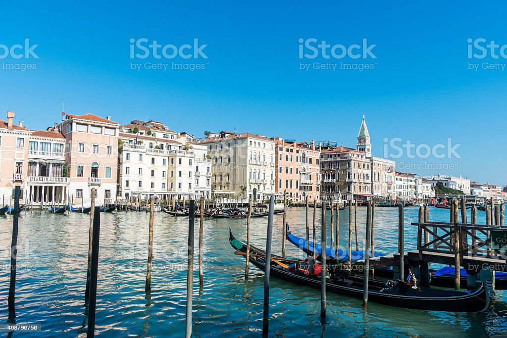 Gondolas and houses in Canal Grande, Venice, Italy royalty-free stock photo