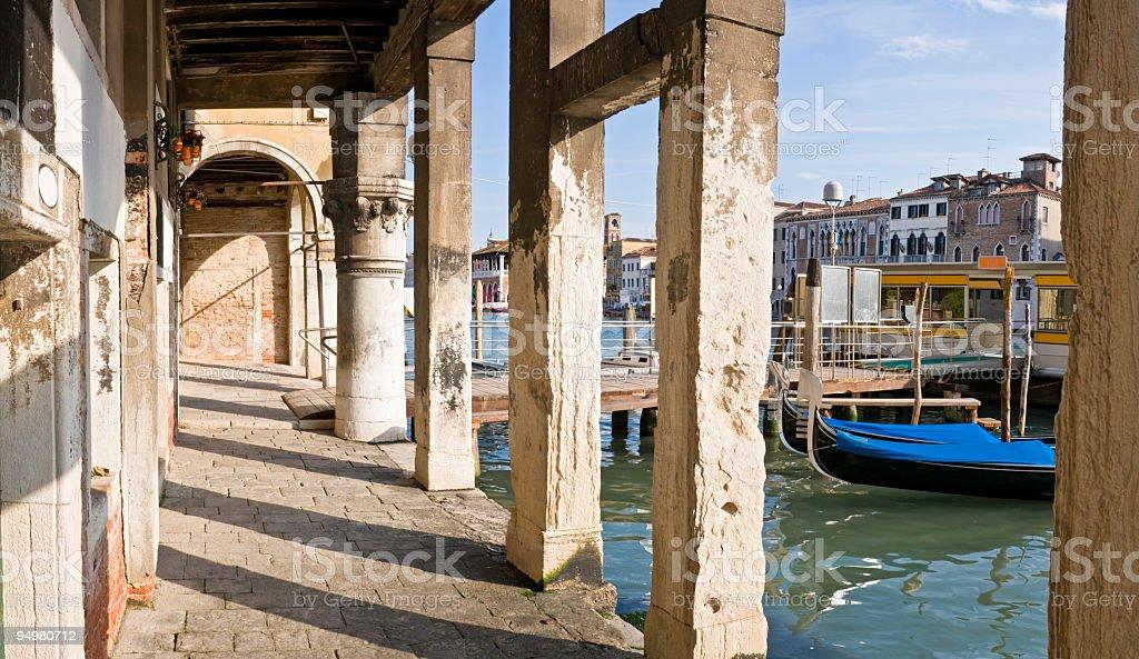 Gondolas and jettys Venice royalty-free stock photo