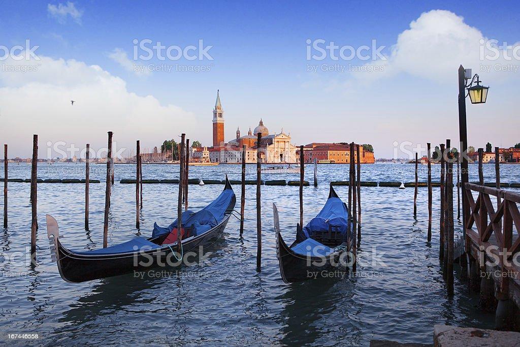 Gondolas and San Giorgio Maggiore church in Venice royalty-free stock photo