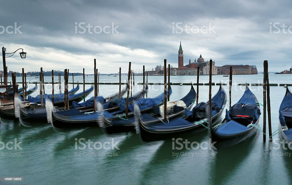 Gondolas and San Giorgio Maggiore Church view royalty-free stock photo