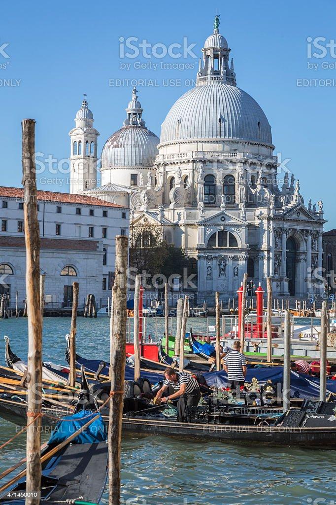 Gondolas and Santa Maria della Salute, Venice, Italy stock photo