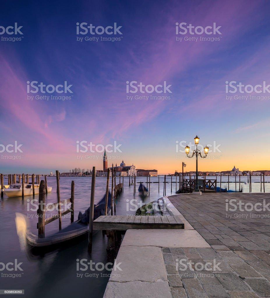 Gondolas and the Church of San Giorgio Maggiore, Venice stock photo