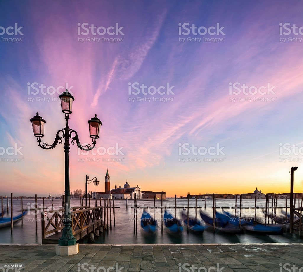 Gondolas and the Church of San Giorgio Maggiore, Venice stock photo