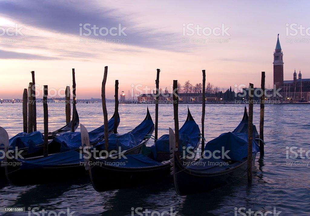 Gondolas at Dawn royalty-free stock photo