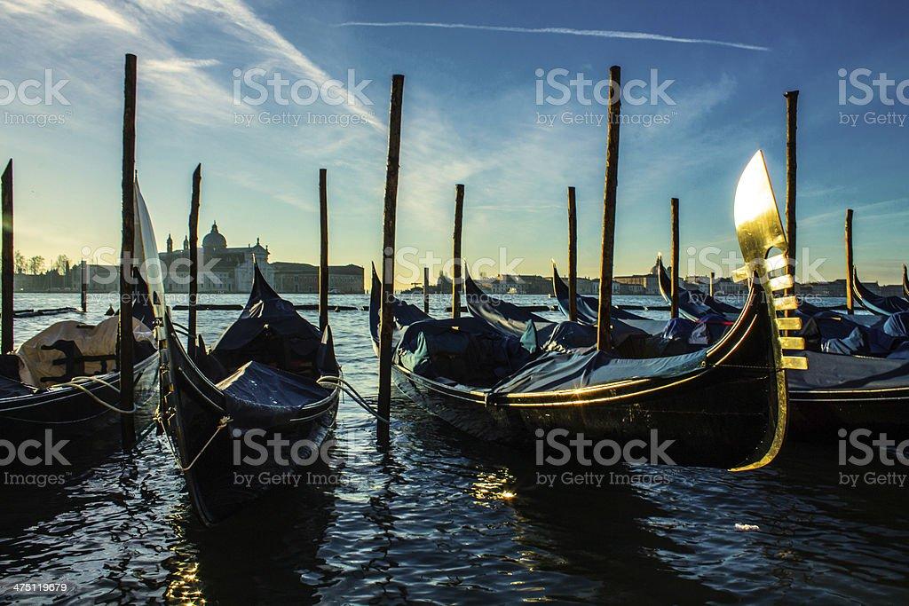 Gondolas at Dock royalty-free stock photo