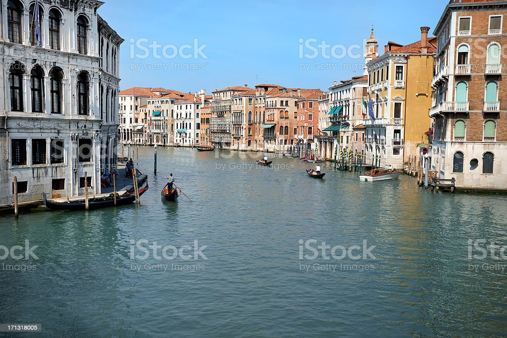 gondolas at grand canal in venice royalty-free stock photo