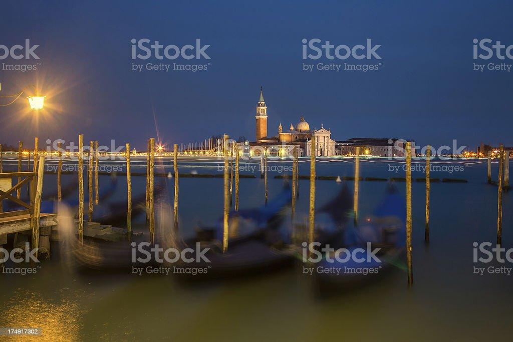 Gondolas at Night royalty-free stock photo