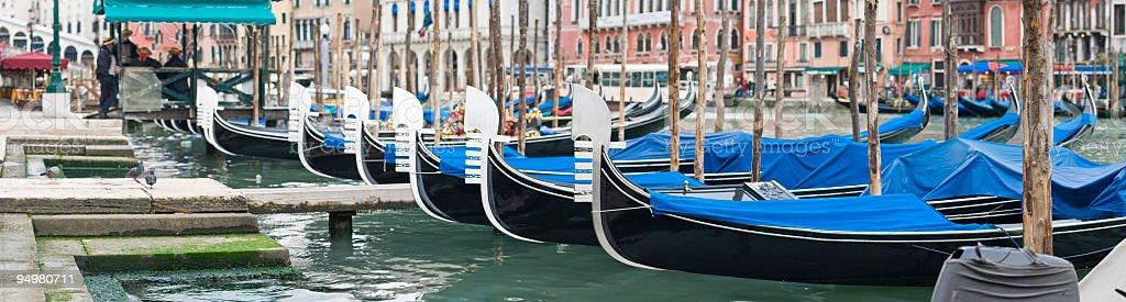 Gondolas at Rialto Venice royalty-free stock photo