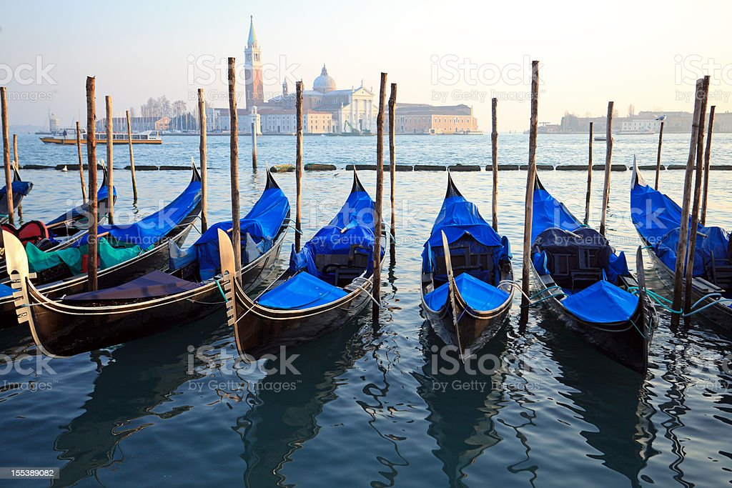 Gondolas at San Marco, Venice royalty-free stock photo