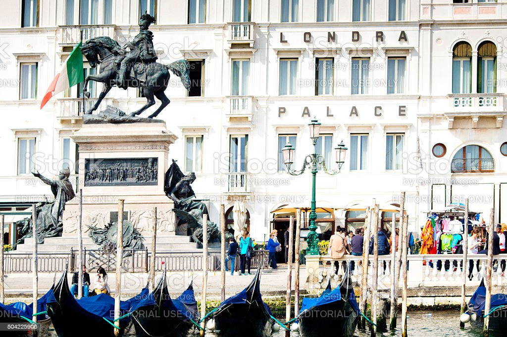 Gondolas at San Marco Venice stock photo