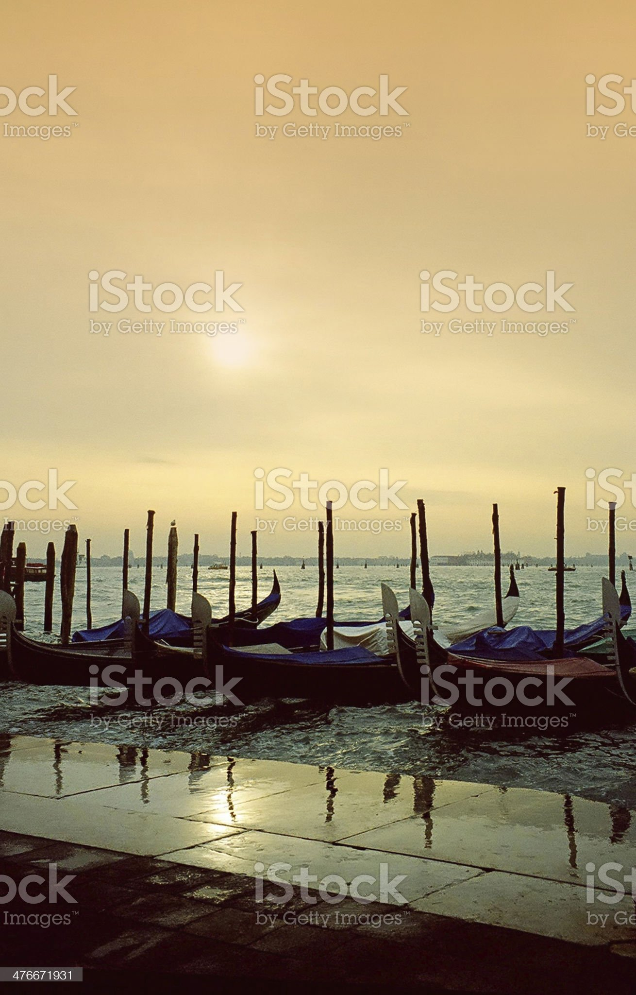 Gondolas at Sunrise, Venice, Italy royalty-free stock photo