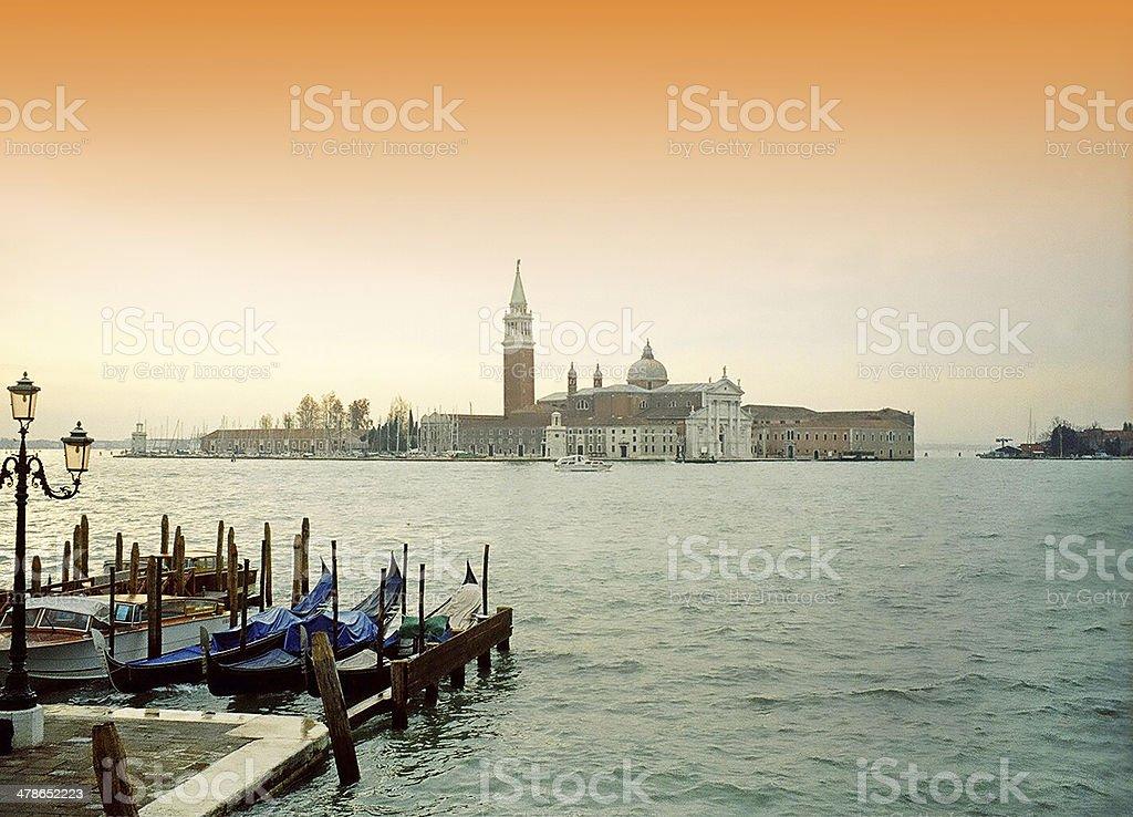 Gondolas at Sunrise, Venice, Italy stock photo