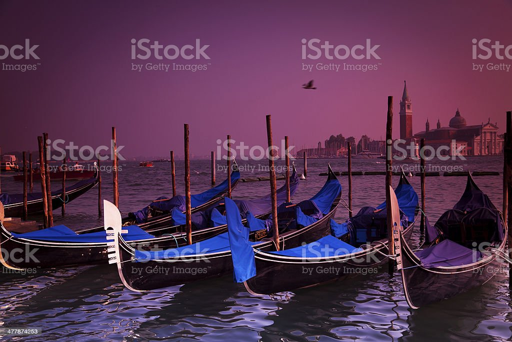 Gondolas at Sunset, Venice, Italy royalty-free stock photo