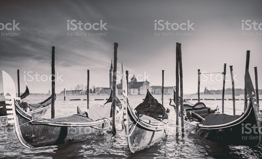 Gondolas at the  Piazza San Marco, Venice, Italy. stock photo