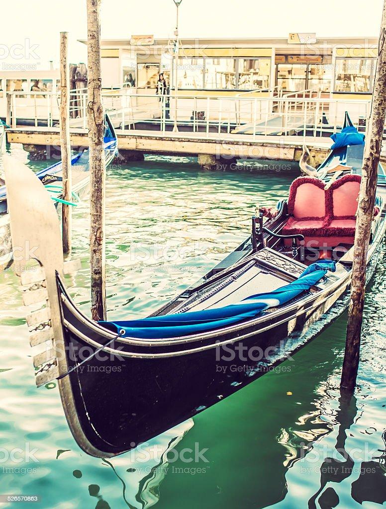 Gondolas at the  Piazza San Marco, Venice stock photo
