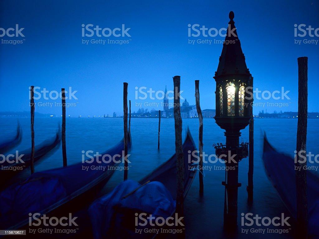 gondolas by moonlight royalty-free stock photo