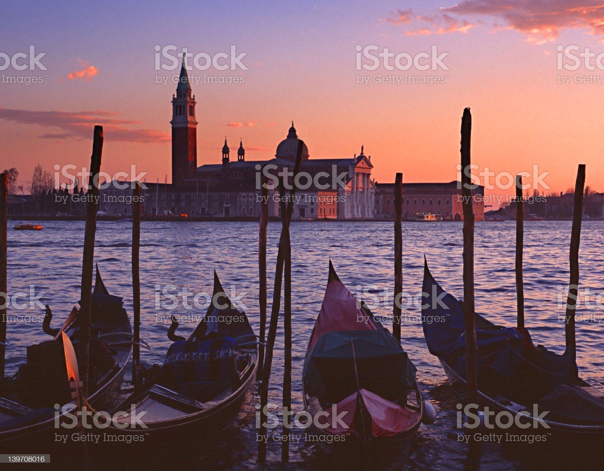 Gondolas by Saint Georgio 2 royalty-free stock photo