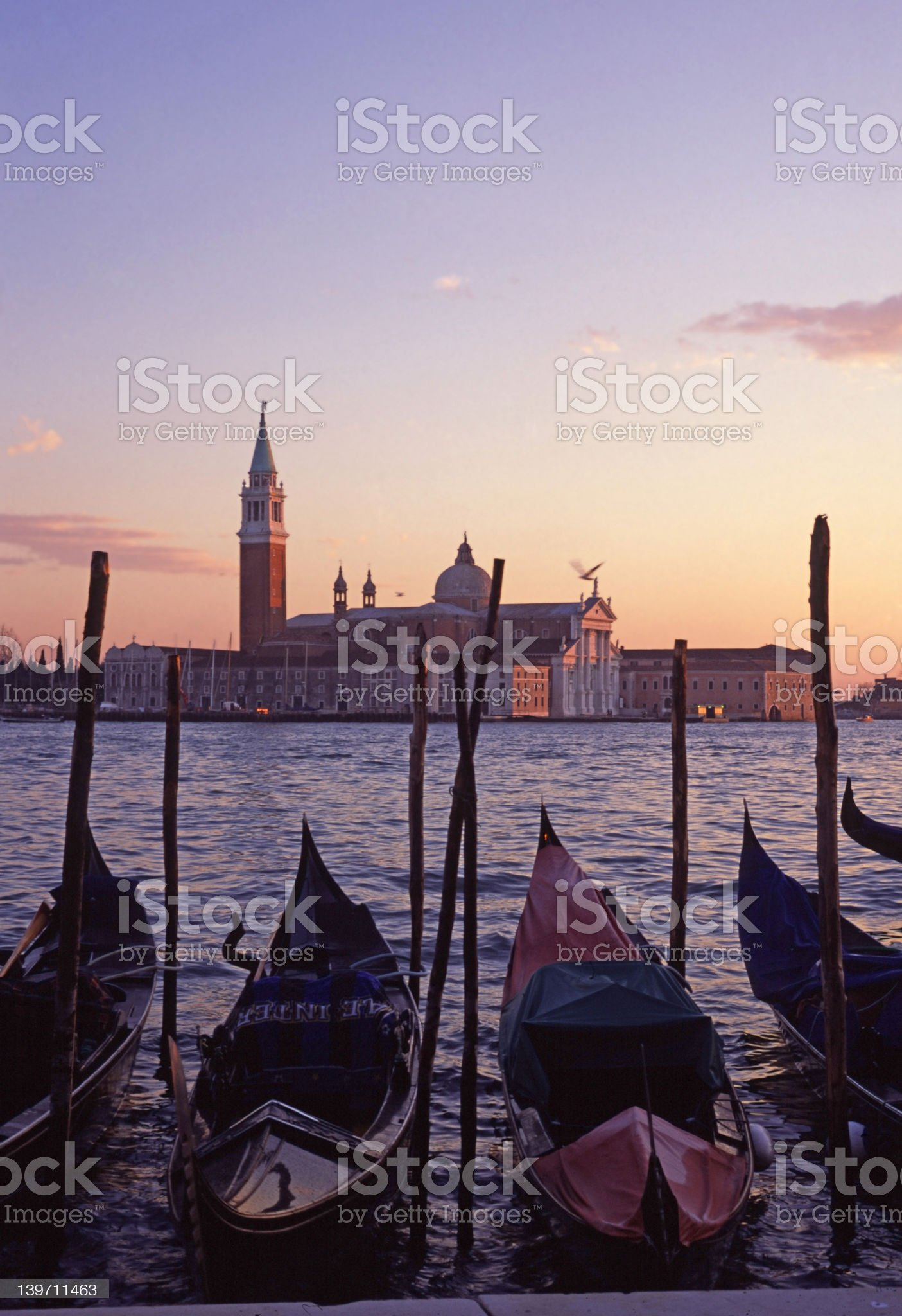 Gondolas by Saint Georgio 4 royalty-free stock photo