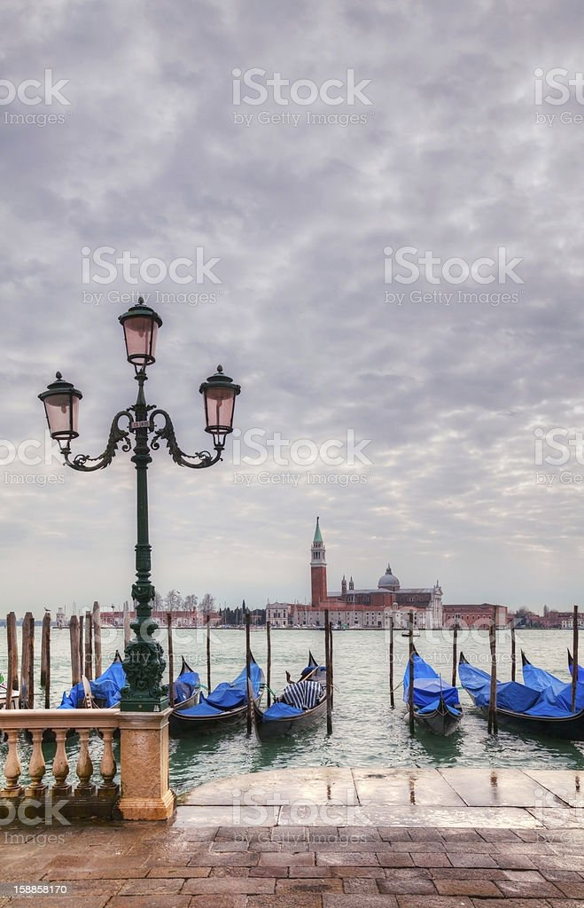Gondolas floating in the Grand Canal royalty-free stock photo
