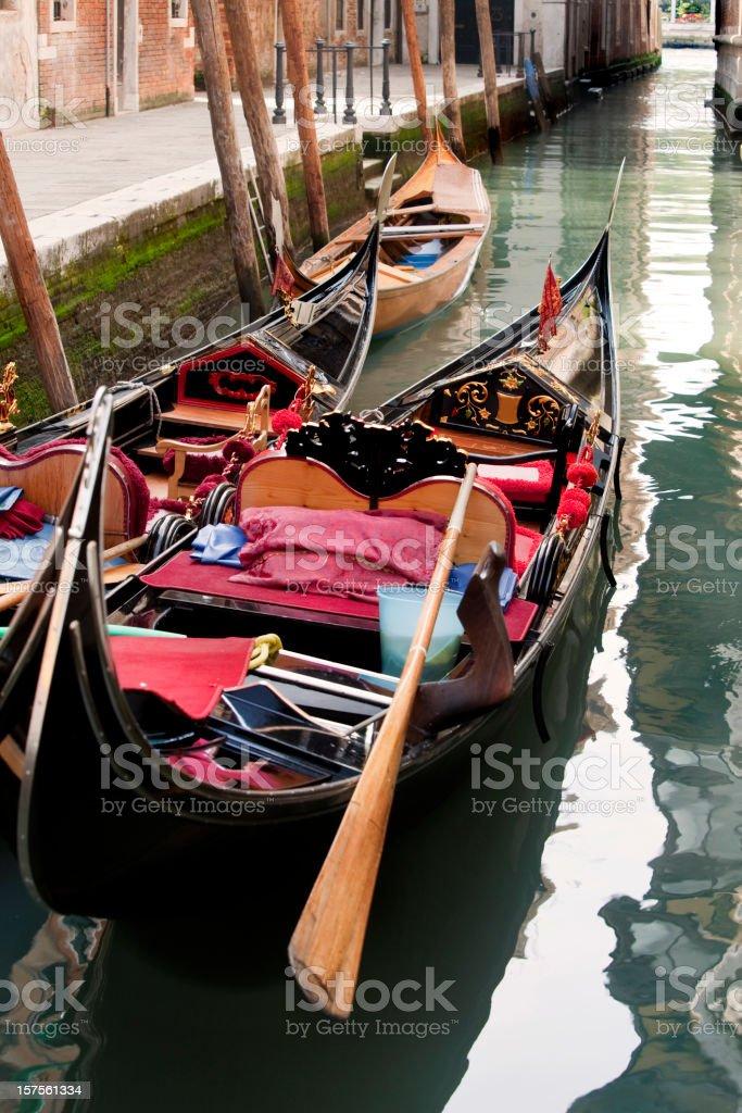 Gondolas in Canal Venice Italy royalty-free stock photo
