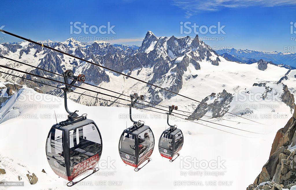 Gondolas in French Alps, Europe stock photo