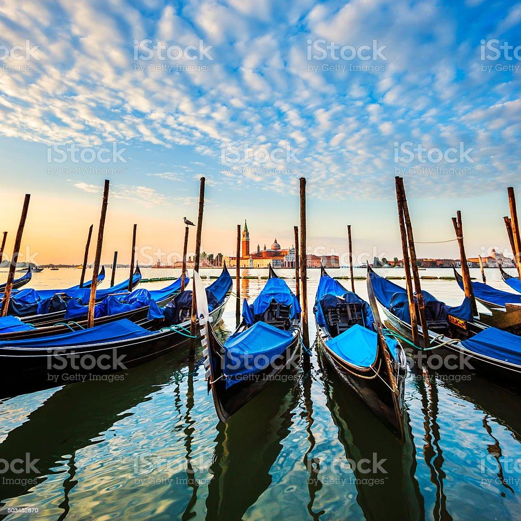 Gondolas in lagoon of Venice stock photo