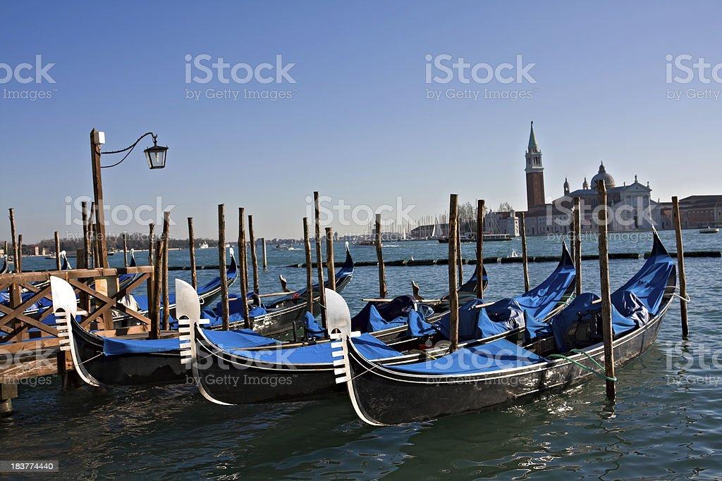 Gondolas in St. Mark basin royalty-free stock photo
