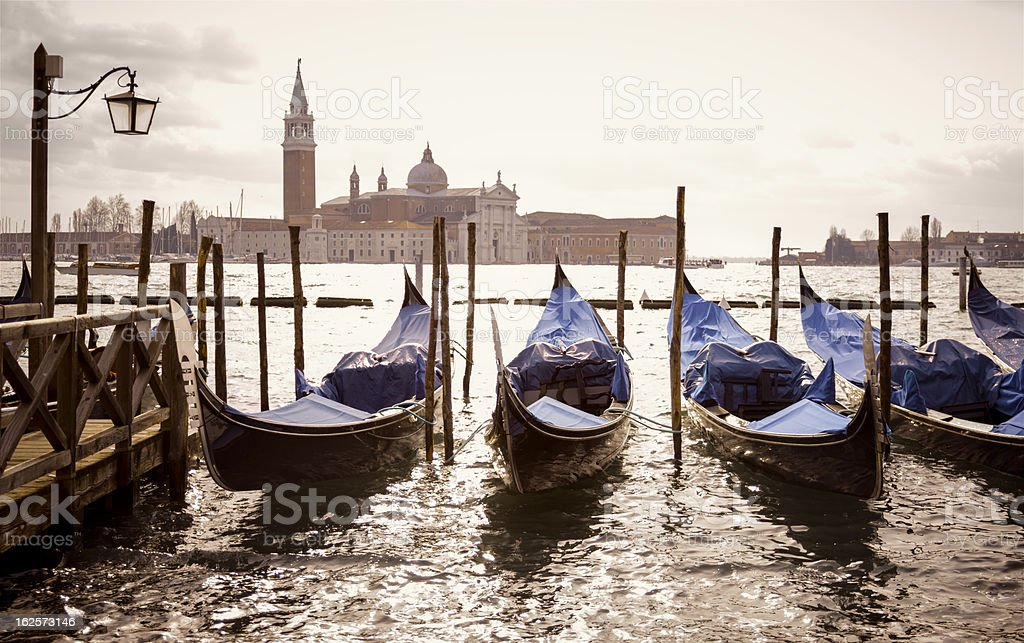 gondolas in sunshine royalty-free stock photo
