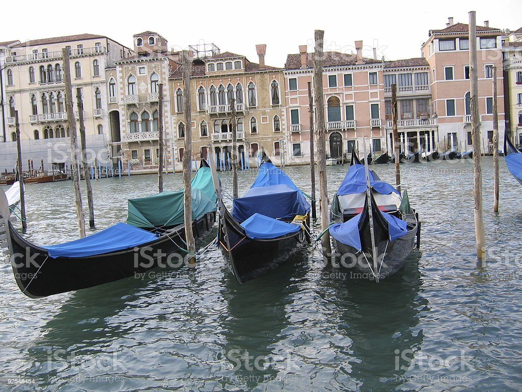 Gondolas in the Gran Canal royalty-free stock photo