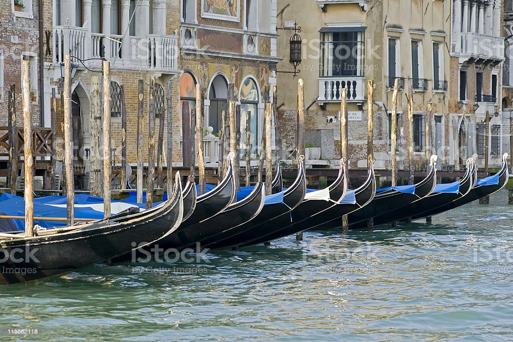 Gondolas in the Grand Canal of Venice royalty-free stock photo