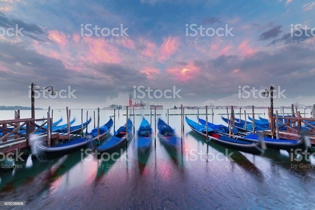 Gondolas in the lagoon, Venice stock photo