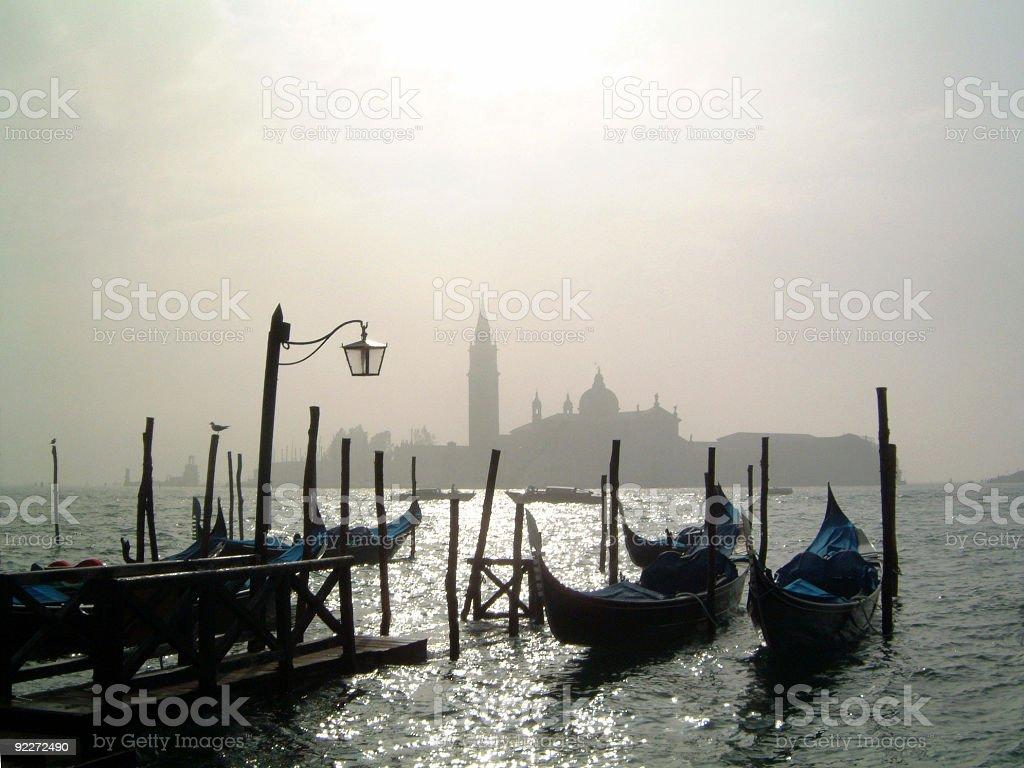 Gondolas in the morning royalty-free stock photo