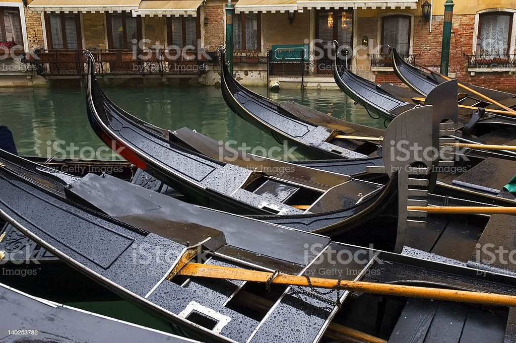 Gondolas in the rain royalty-free stock photo