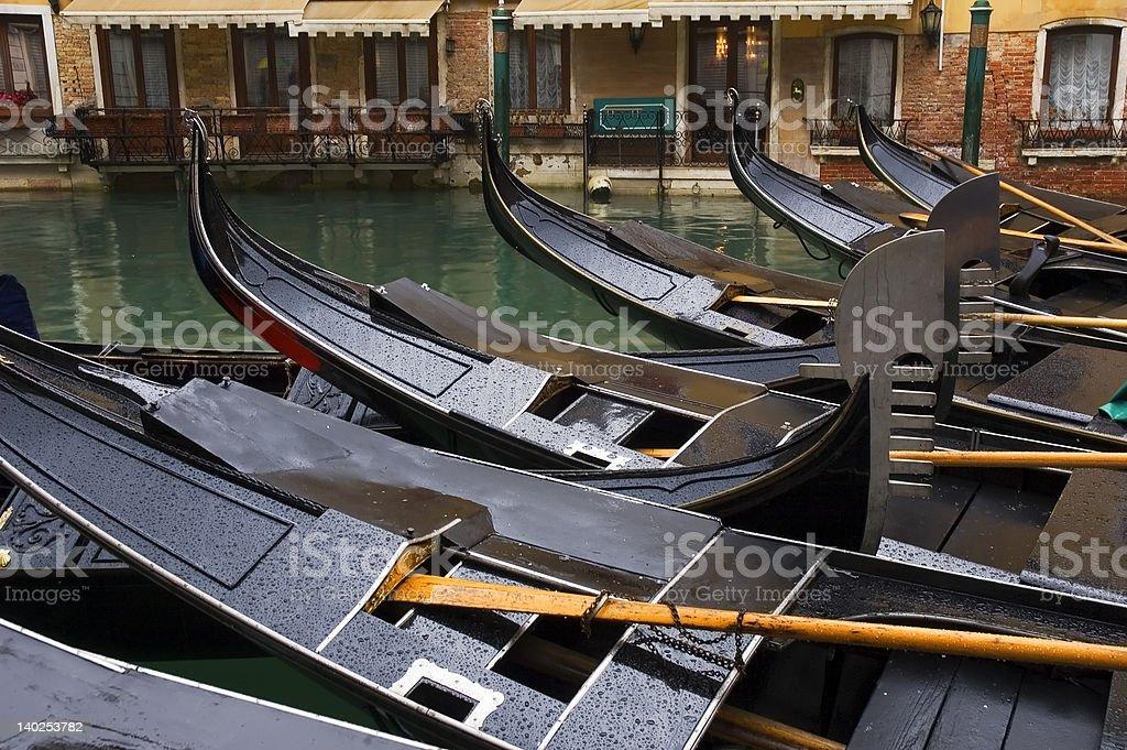 Gondolas in the rain stock photo