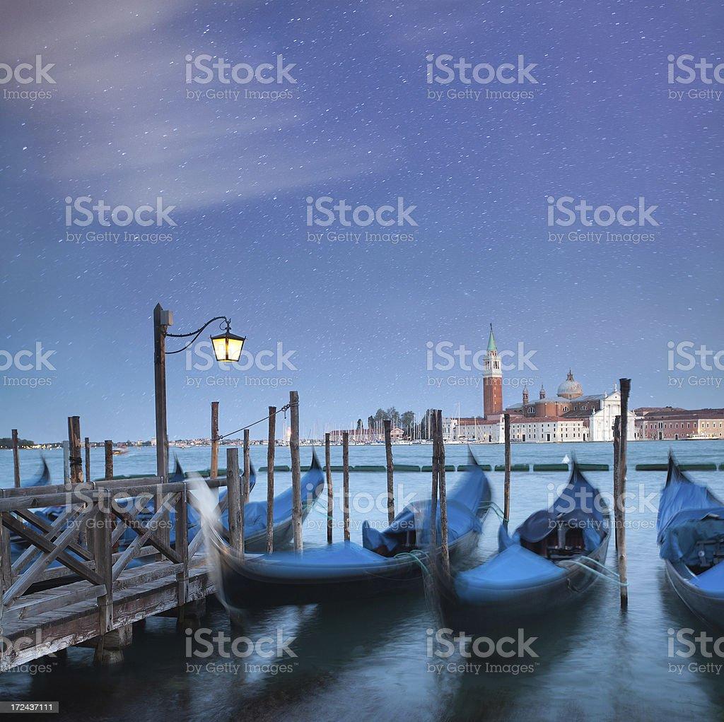 Gondolas in the Venice, Italy royalty-free stock photo