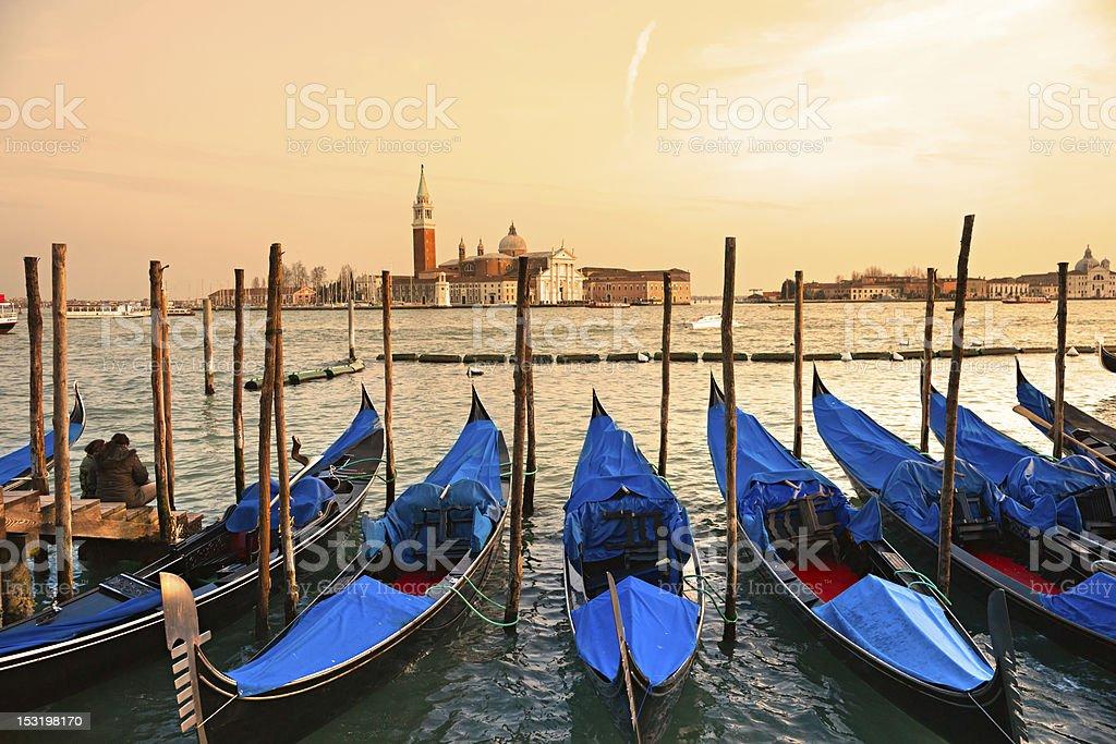 Gondolas in Venice . Italy. royalty-free stock photo