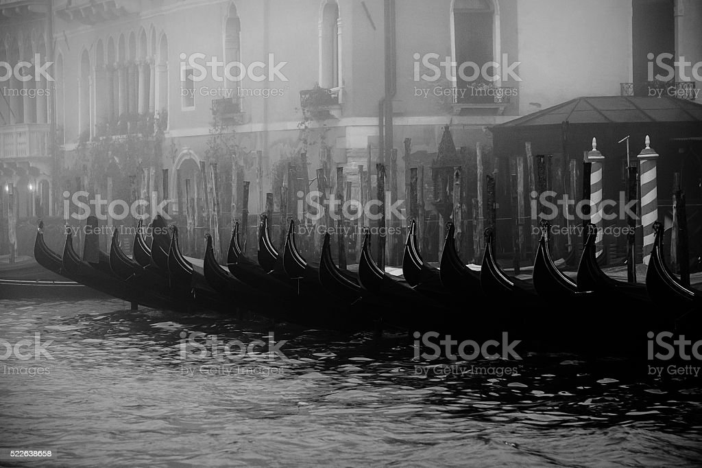 Gondolas in Venice on a foggy morning stock photo