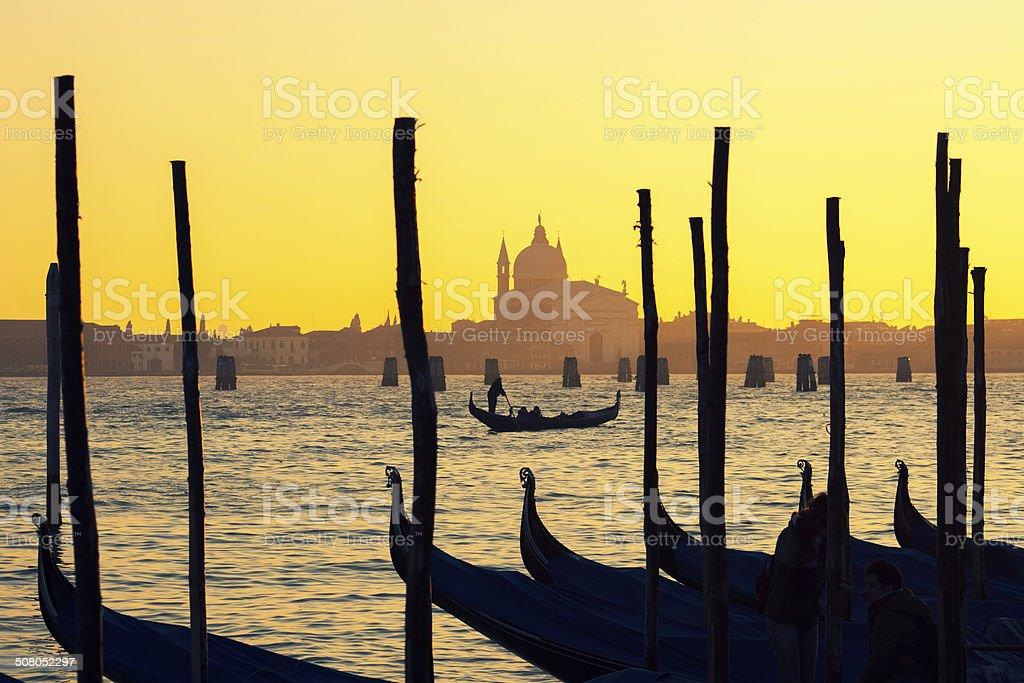 Gondolas in Venice. stock photo
