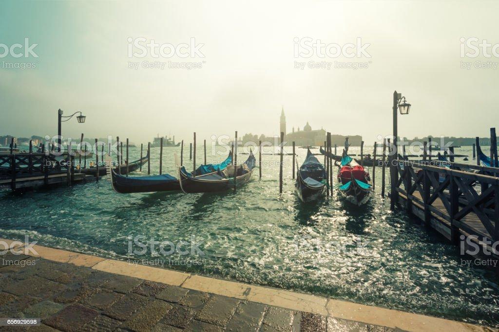 Gondolas in Venice stock photo