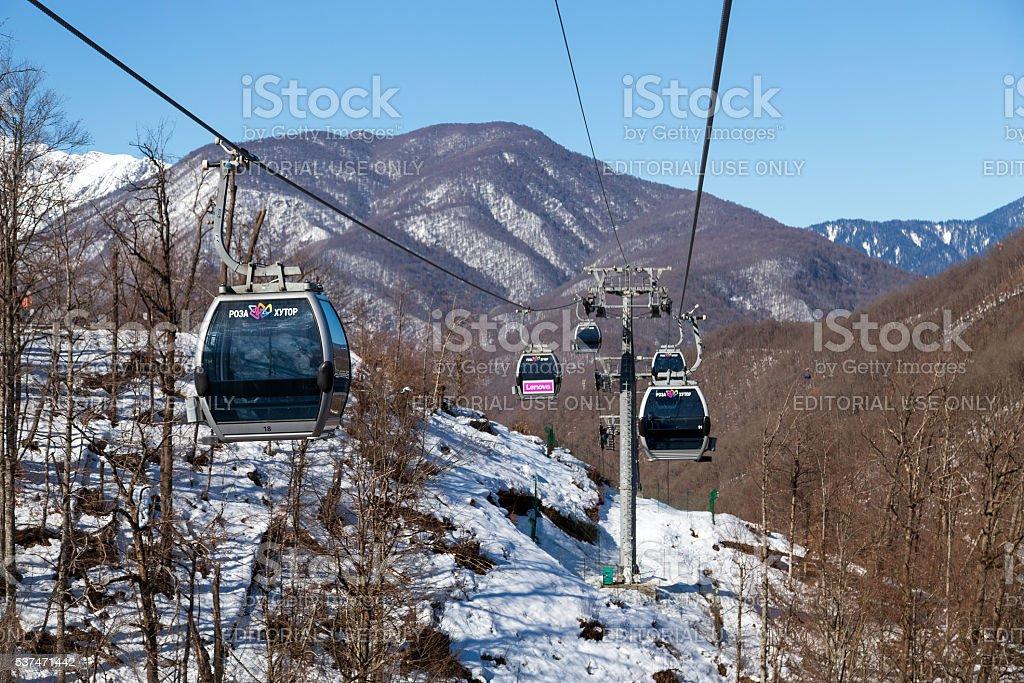 Gondolas lift in Rosa Khutor ski resort, Sochi, Russia stock photo